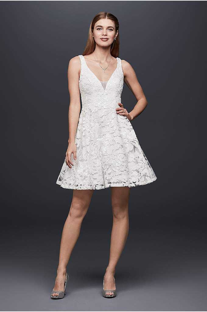 Embroidered Mesh Mini Dress with Circle Skirt - A flirty, flippy choice for a fun-loving bride,