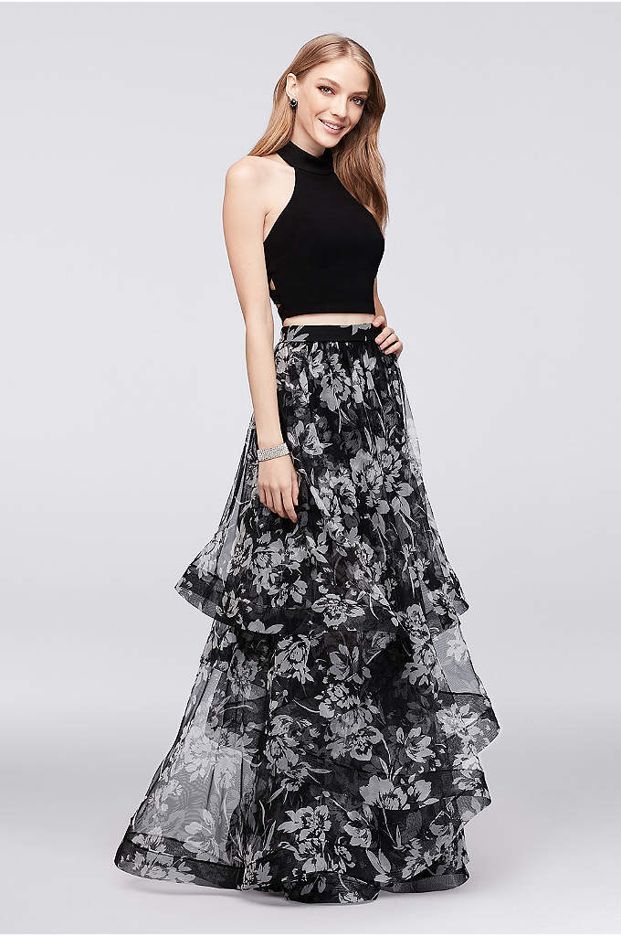 Caged Top and Tiered Mesh Skirt Two-Piece Dress - Layers of floral-printed mesh create the dramatic skirt