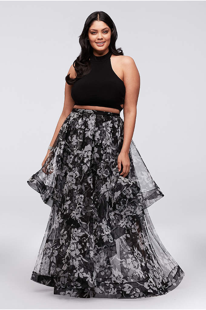 Caged Top and Mesh Skirt Plus-Size Two-Piece Dress - Layers of floral-printed mesh create the dramatic skirt