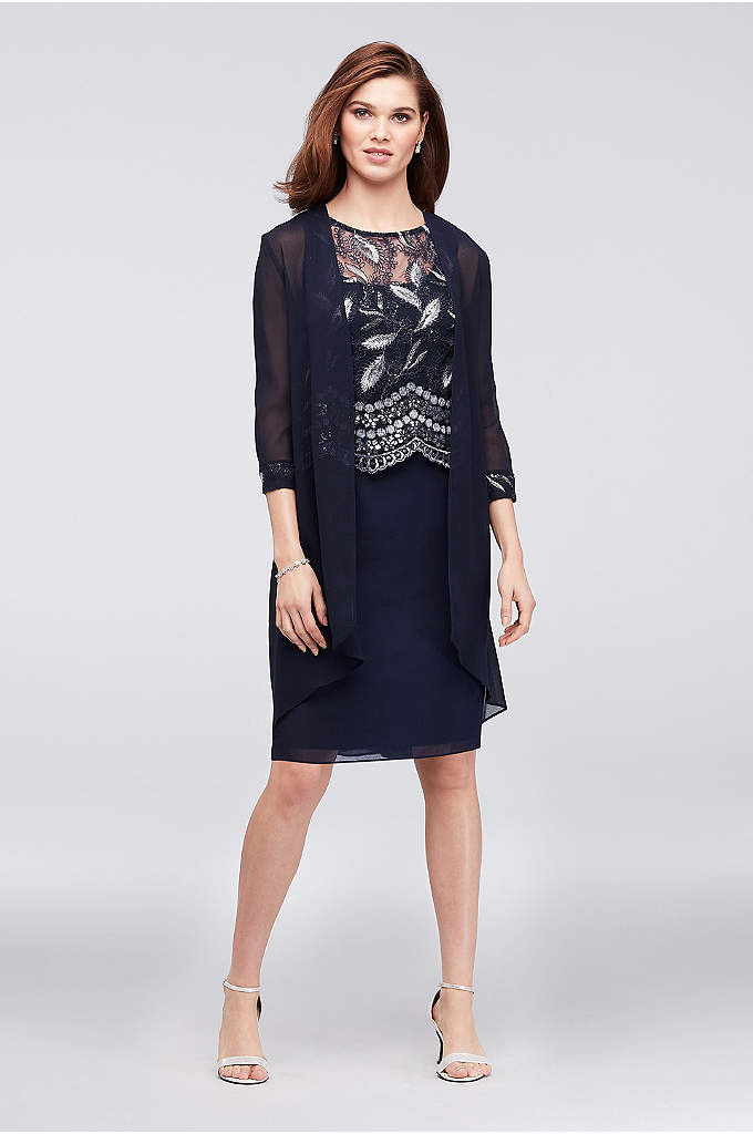 Embroidered Sleeveless Dress and Georgette Jacket - This sleeveless popover dress features a bodice adorned