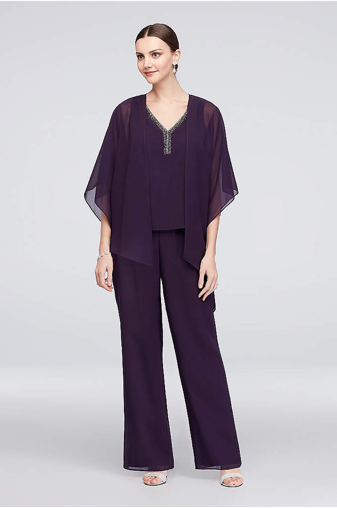 Flowy Asymmetrical Jacket and Beaded Tank Pantsuit - Airy pebbled georgette creates a flowy pantsuit with