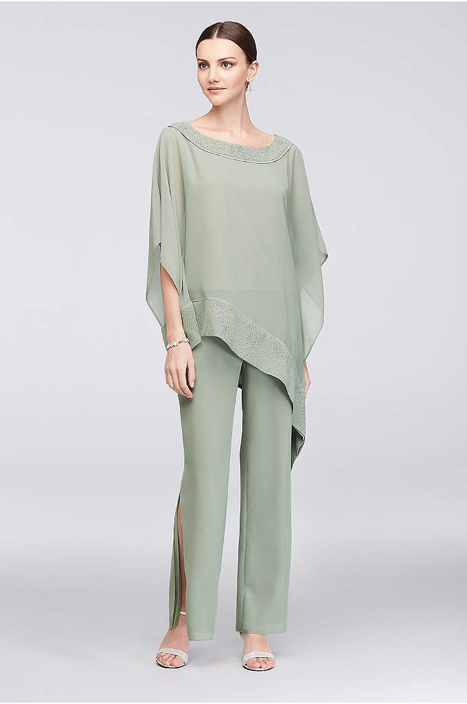 Georgette Pantsuit with Asymmetric Blouse - Airy georgette creates a chic pantsuit with an