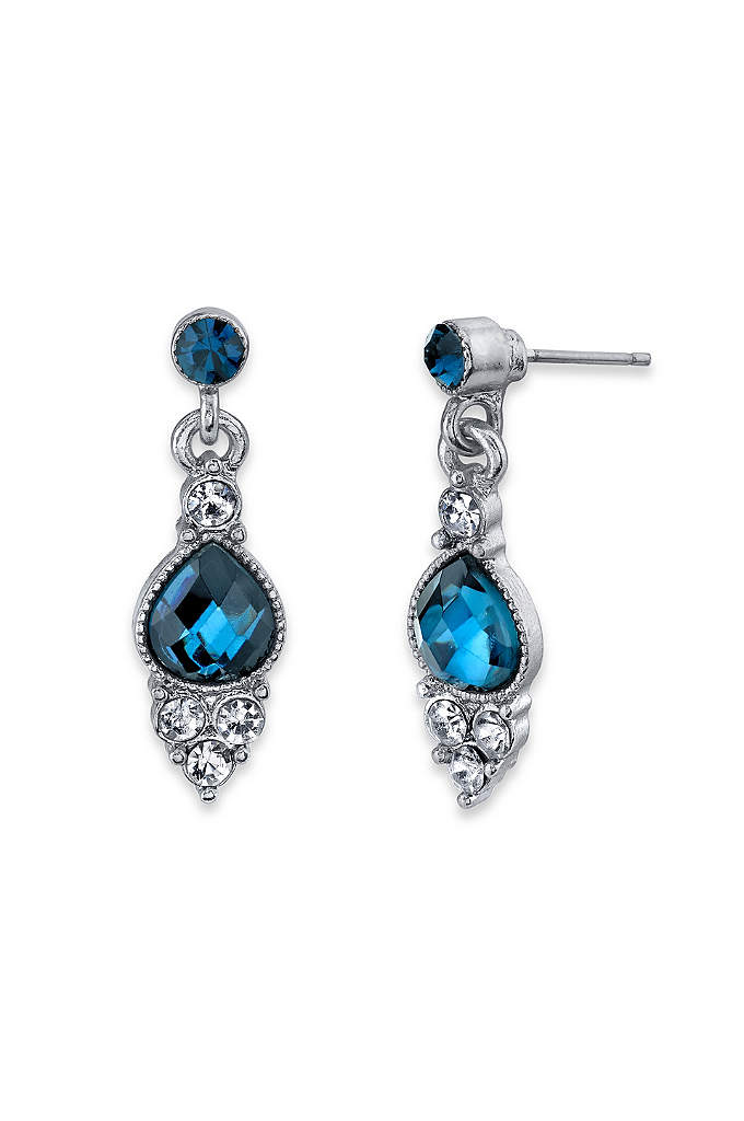 Blue and Crystal Pear Drop Earrings - Below blue crystal posts, faceted blue pear-shaped stones
