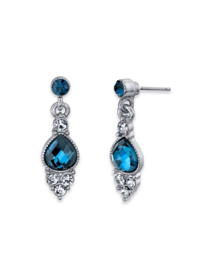 Blue and Crystal Pear Drop Earrings - Wedding Accessories