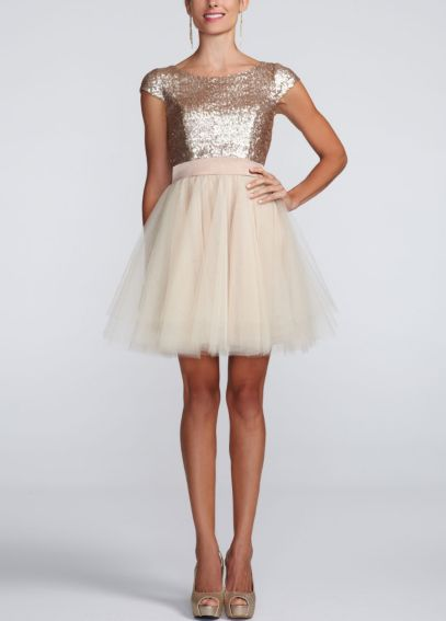 Cap Sleeve Sequin Bodice Dress with Tulle Skirt 26B6204TQ1