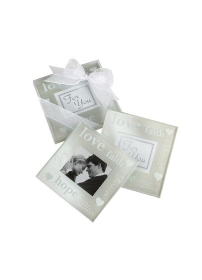 Pearlized Photo Coasters Set of 2 - Wedding Gifts & Decorations