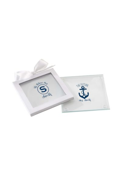 Personalized Nautical Glass Coasters Set of 12 - Wedding Gifts & Decorations