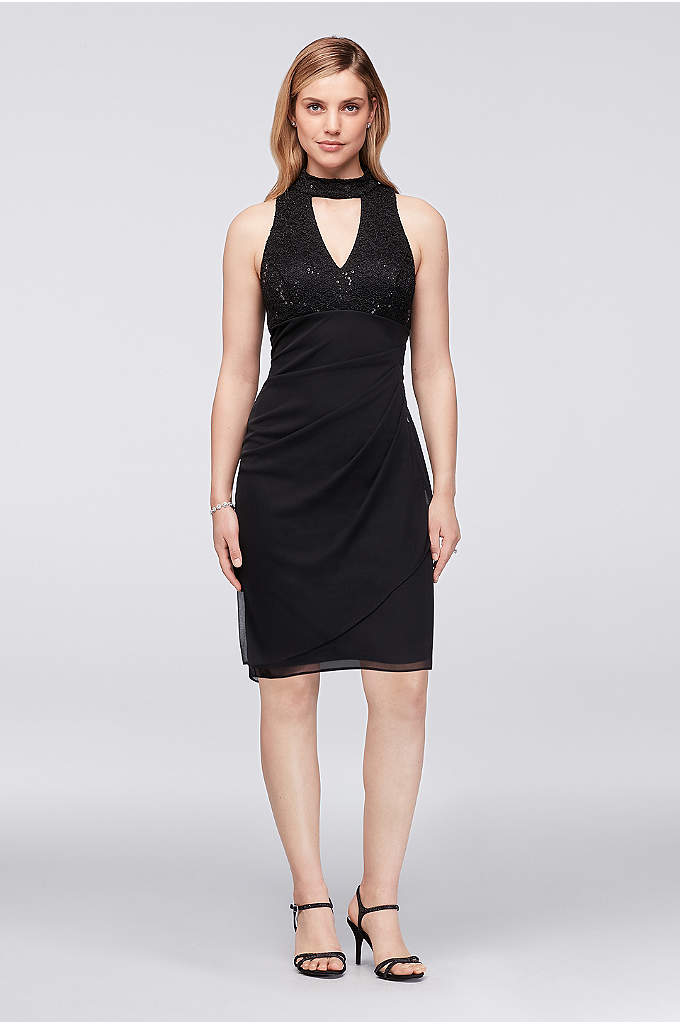 V-Neck Lace and Mesh Short Dress with Choker - Curve-hugging and figure flattering, this side-swept mesh and