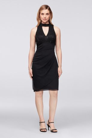 Black dress with lace neck