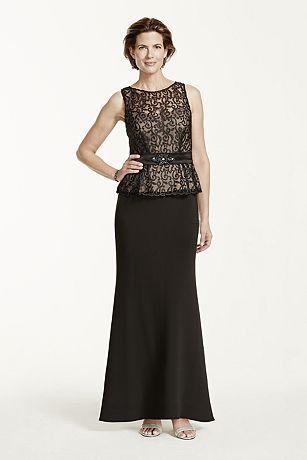 Sleeveless Scroll Lace Peplum Dress