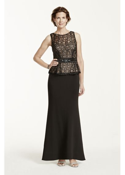 Sleeveless Scroll Lace Peplum Dress 2742DB