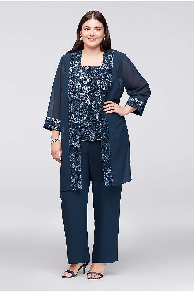 Sequin Embellished Chiffon Plus Size Pantsuit - Sequin paisleys add gorgeous sparkle to the sleeveless