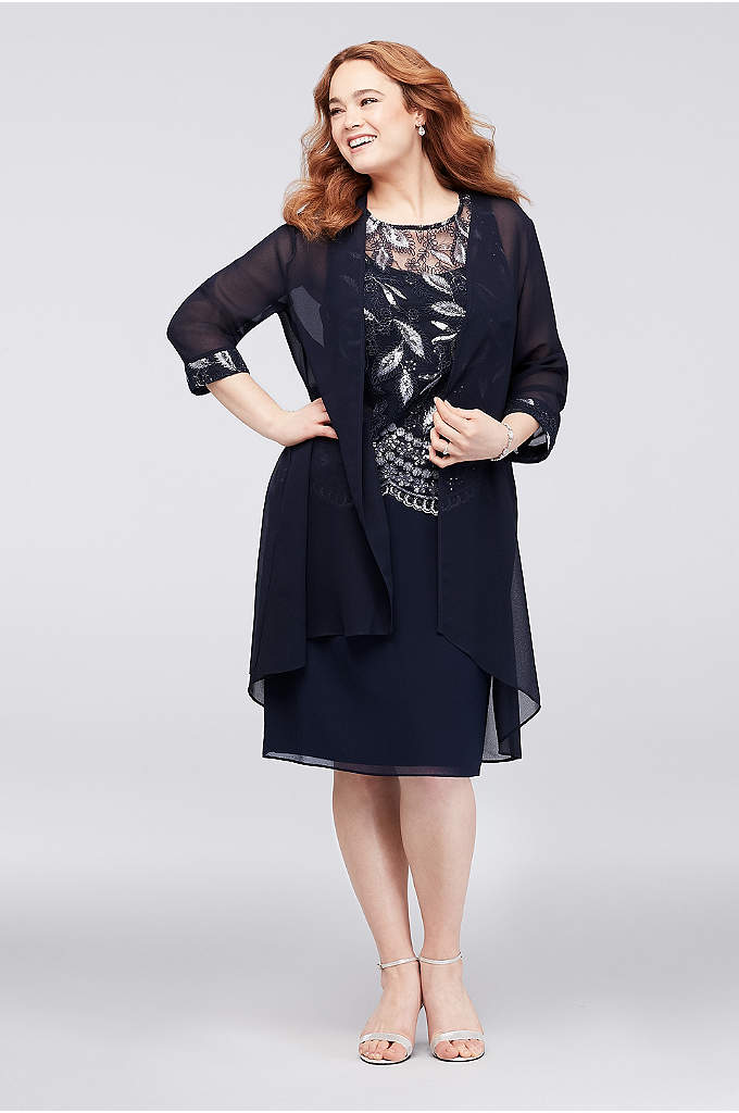 Embroidered Sleeveless Plus Size Dress and Jacket - This sleeveless popover dress features a bodice adorned