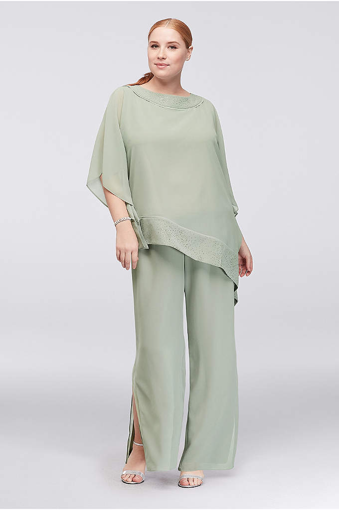 Georgette Plus Size Pantsuit with Asymmetric Top - Airy georgette creates a chic pantsuit with an