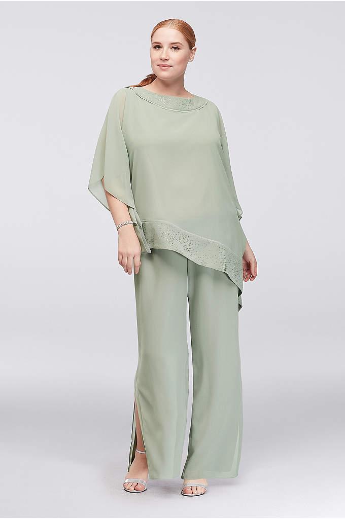 Georgette Plus Size Pantsuit with Asymmetric Top - Airy georgette creates a chic pantsuit with an