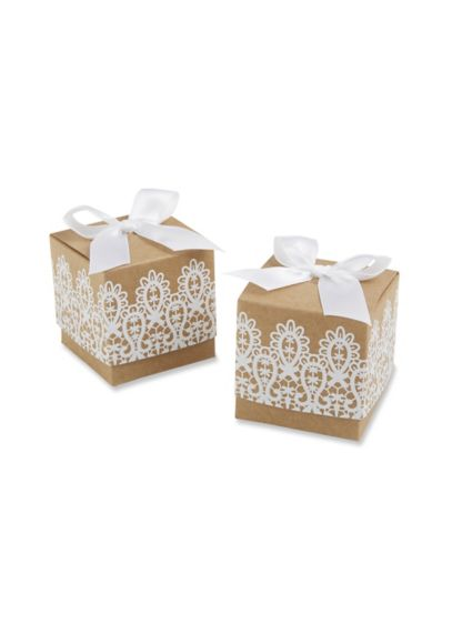 Rustic Romance Kraft Lace Favor Box Set of 24 - Wedding Gifts & Decorations