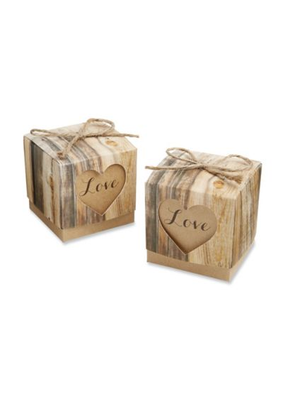 Hearts in Love Rustic Favor Box Set of 24 - Wedding Gifts & Decorations