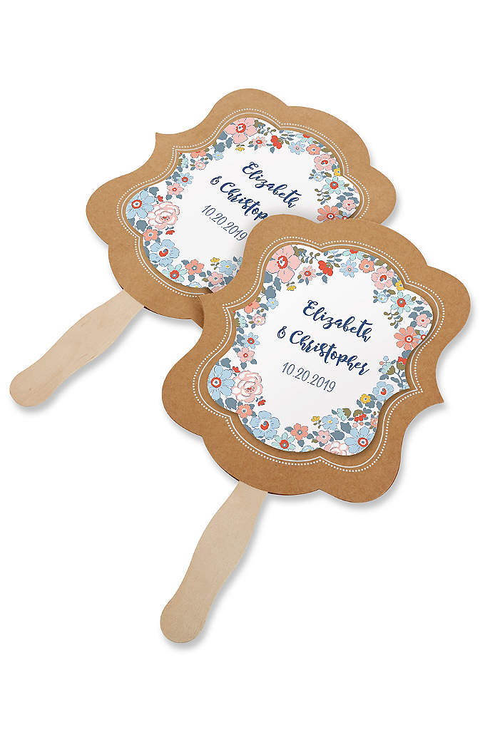 Personalized Floral Print Kraft Hand Fan Set of - Keep guests cool and comfortable at your event