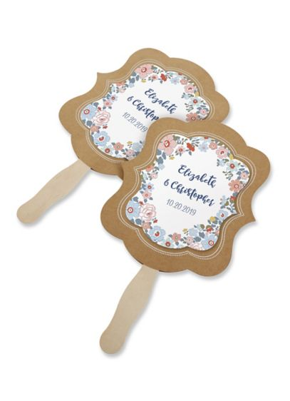 Personalized Floral Print Kraft Hand Fan Set of 12 - Wedding Gifts & Decorations