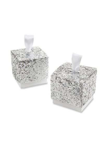 Silver Glitter Favor Box Set of 24 28211NA
