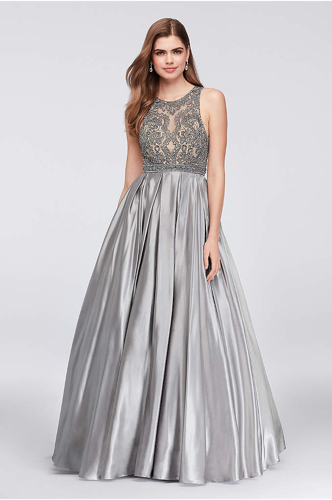 Beaded Illusion Satin Ball Gown with Keyhole Back - Super-lustrous satin forms the soft statement skirt of