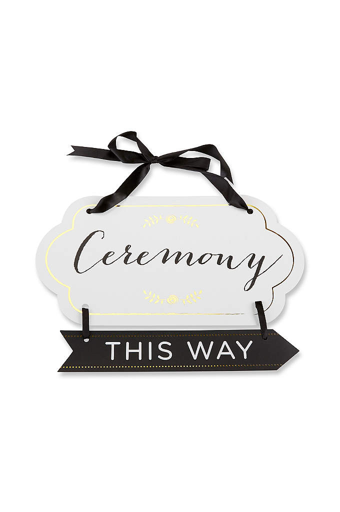 Classic Gold Foil Directional Ceremony Sign - Direct guests to your ceremony space using this