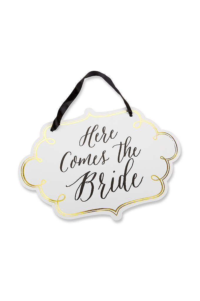 Classic Gold Foil Here Comes the Bride Sign - Have the flower girl and ring bearer carry
