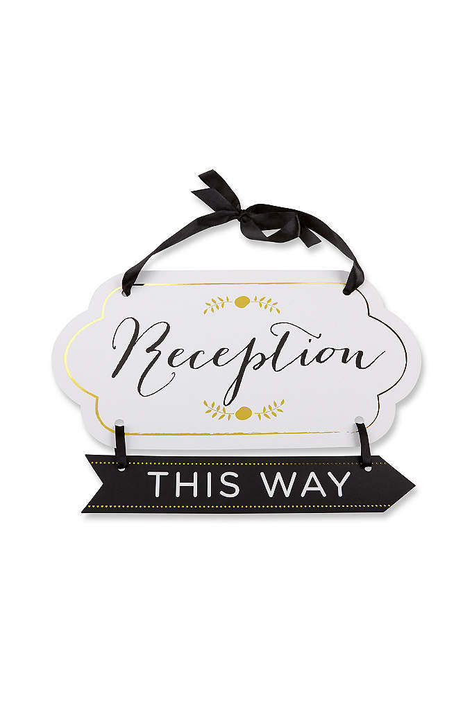 Classic Gold Foil Directional Reception Sign - Direct your guests to your reception with this