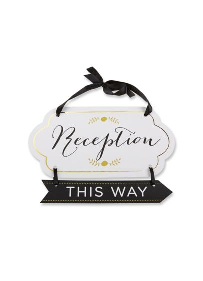 Classic Gold Foil Directional Reception Sign - Wedding Gifts & Decorations