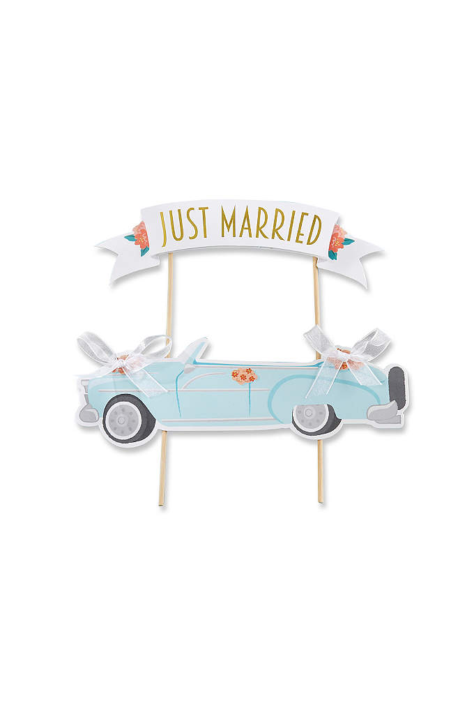 Just Married Vintage Car Cake Topper - The Just Married Vintage Car Cake Topper features