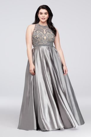 Beaded Illusion Satin Pus Size Gown with Keyhole - Super-lustrous satin forms the soft statement skirt of