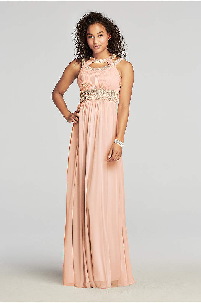 Pearl Beaded Cut Out Halter Prom Dress