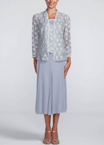 Lace Jacket with Sheer Matte Jersey Skirt 2869