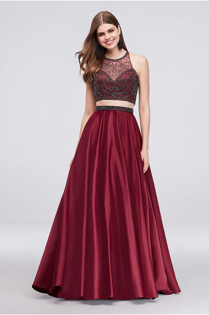 Beaded Illusion Neckline Satin Crop Top Ball Gown - Classic meets modern in this two-piece set that