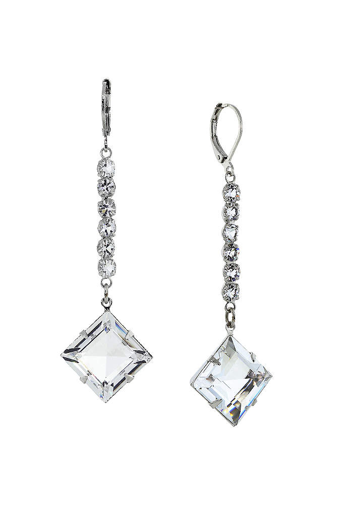 Swarovski Crystal Leverback Long Earrings - Dramatic drop earrings, crafted of round-cut Swarovski crystals