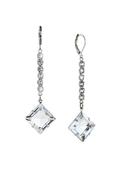 Swarovski Crystal Leverback Long Earrings - Wedding Accessories