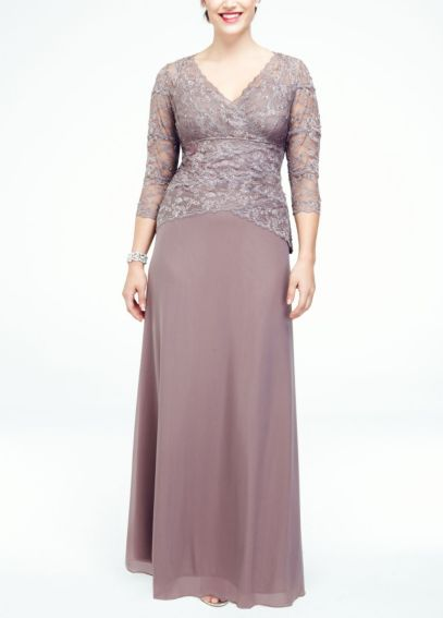 3/4 Sleeve Lace and Mesh Long Dress 290102D