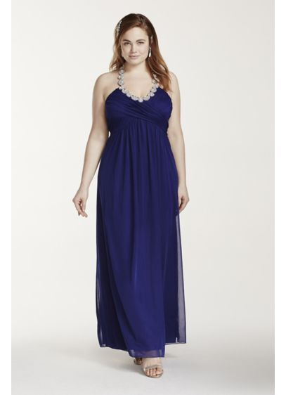 Long A-Line Halter Prom Dress - Trixxi