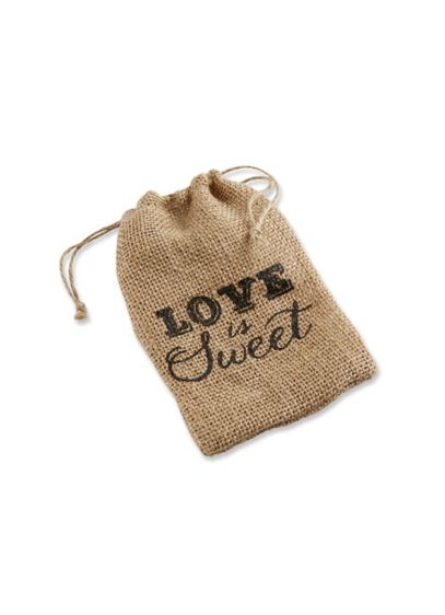 Love is Sweet Burlap Drawstring Bag Set of 12 - Wedding Gifts & Decorations