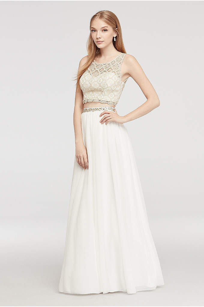 Two Piece Lace Prom Dress with Illusion Neck