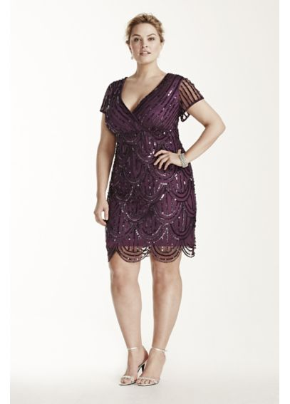 Cap Sleeve Short Mesh Dress with All Over Sequins 290560I
