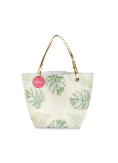 Green (Pretty Palms Canvas Tote Bag With Gold Handles)