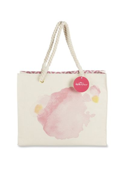 Pink (Watercolor Canvas Tote Bag With Rope Handles)