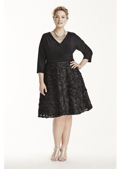 Jersey Dress with Sequined Soutache Skirt 291656