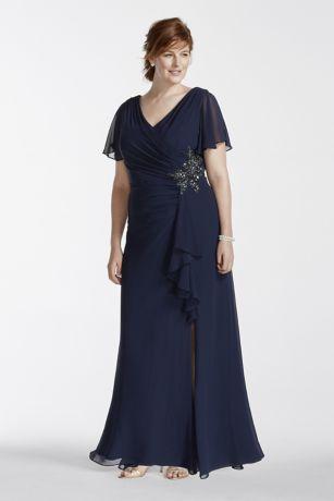 Navy long chiffon dresses