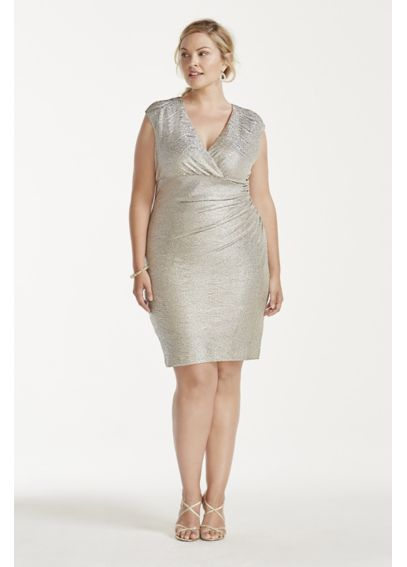 Cap Sleeve Faux Wrap V-Neck Metallic Dress 292374I