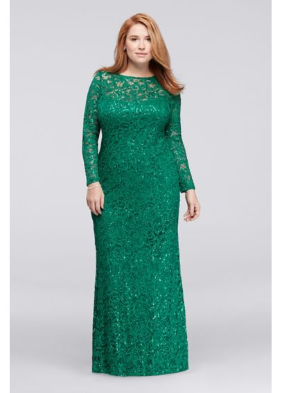Long Lace Plus Size Dress with Long Sleeves 292571I