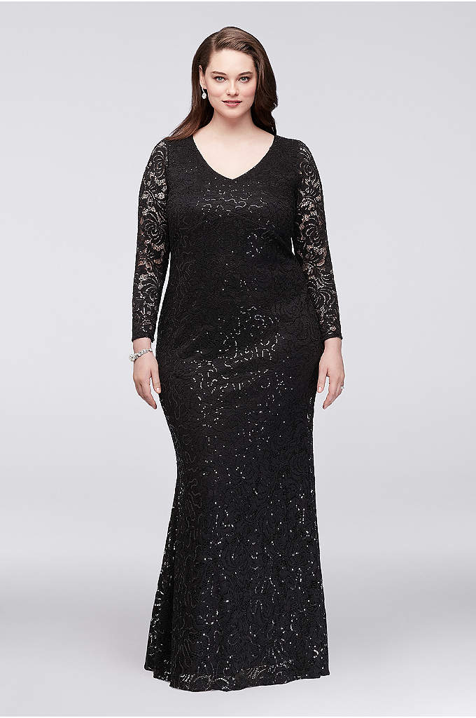 Long Sleeve Lace Plus Size Gown with Keyhole - A keyhole back provides cool contrast to the