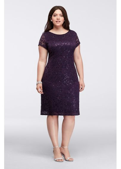 Plus Size Cap Sleeve Short Lace Dress with Sequins 292866