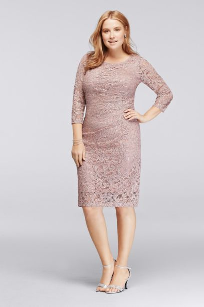 plus size sequin lace dress with 3/4 sleeves | david's bridal